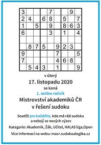 Mistrovství akademiků ČR v sudoku 2020